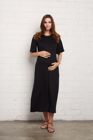 Rib Oona Dress - Black, Maternity
