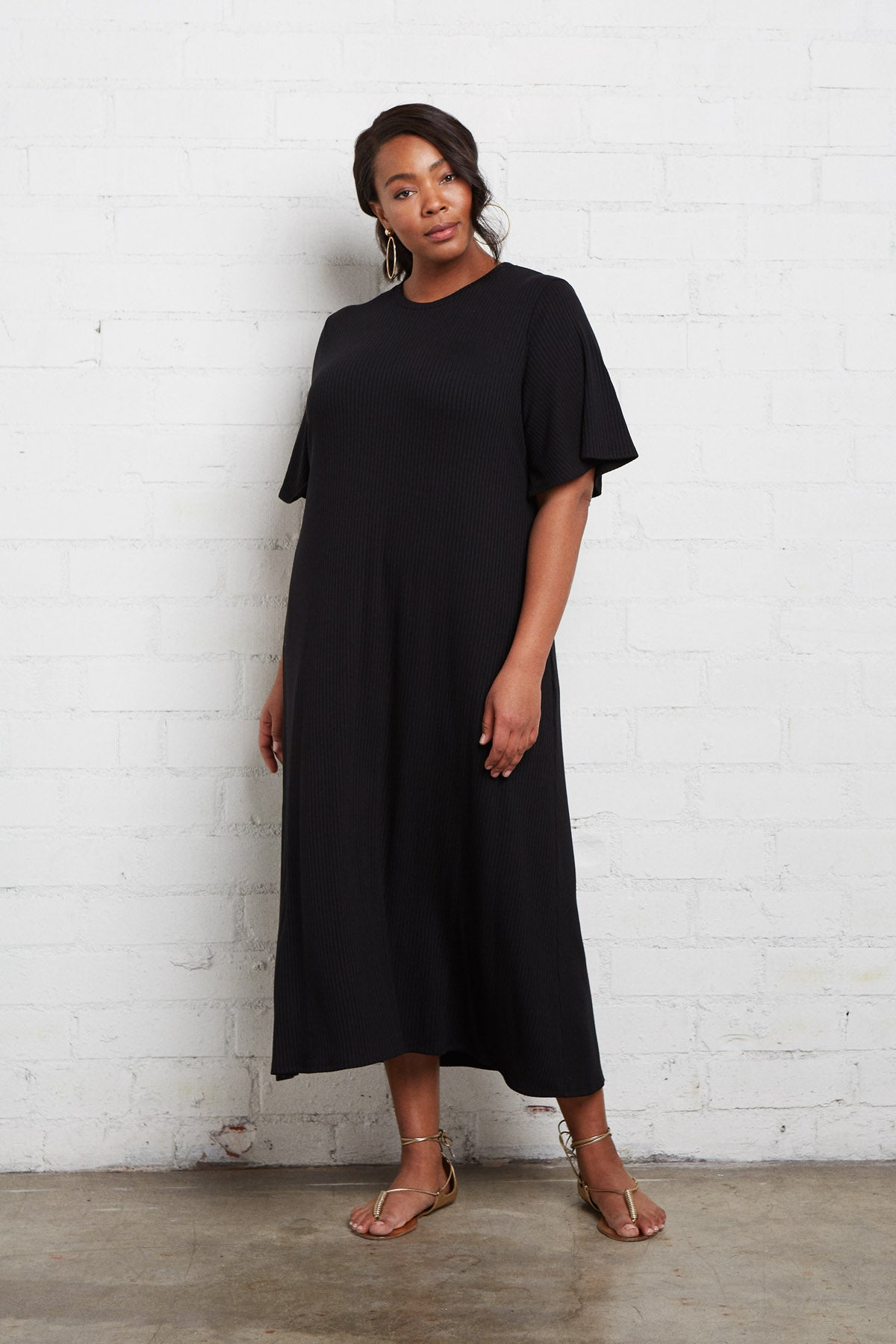 Rib Oona Dress - Black, Plus Size
