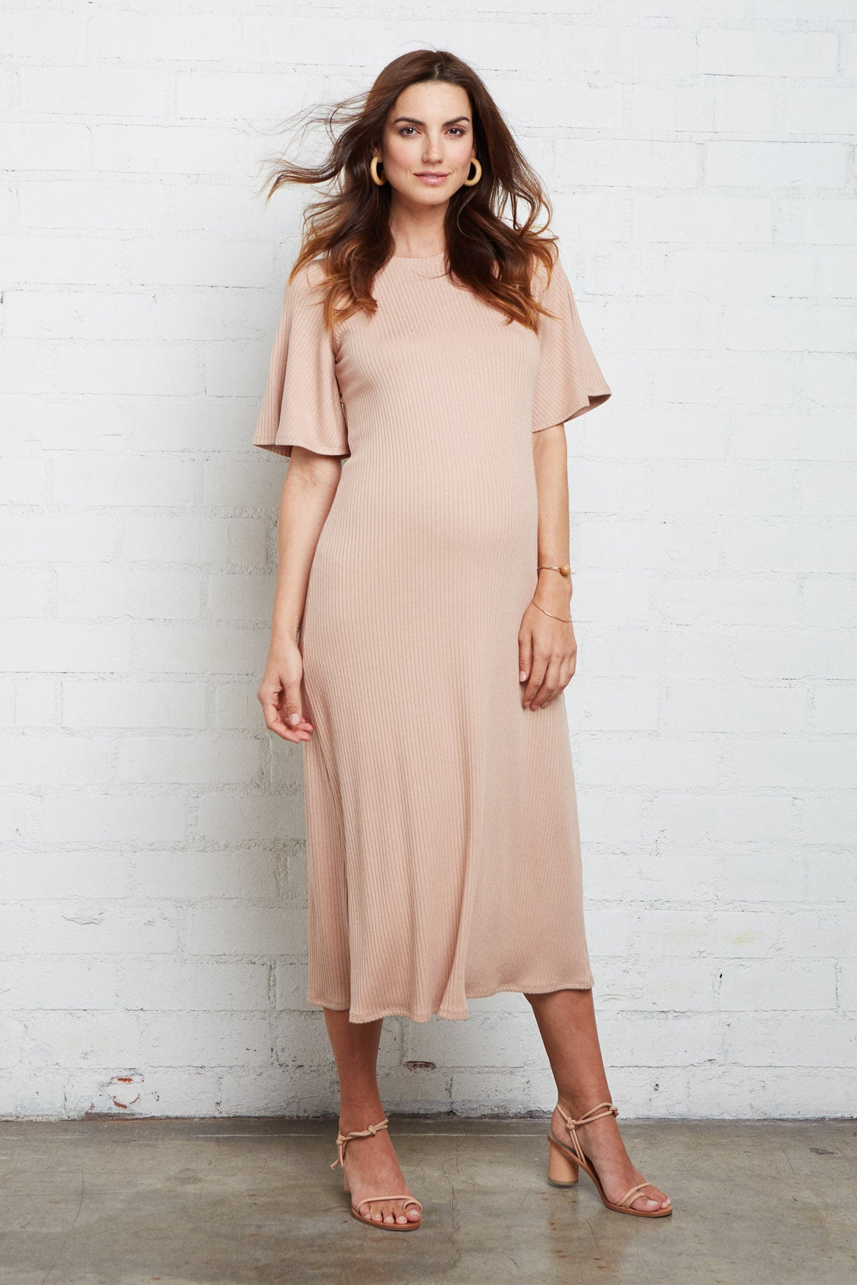 Rib Oona Dress - Maple Sugar, Maternity