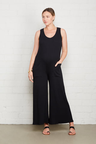 Rib Remy Jumpsuit - Black, Maternity