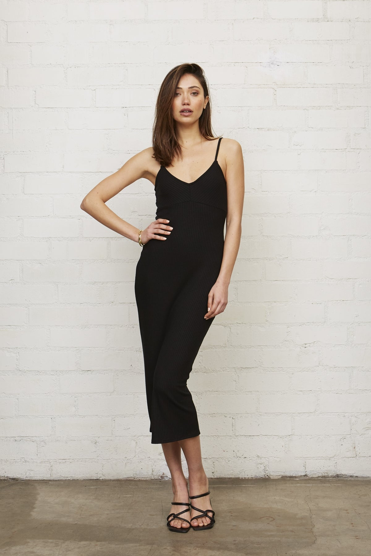 Rib Rochelle Dress - Black