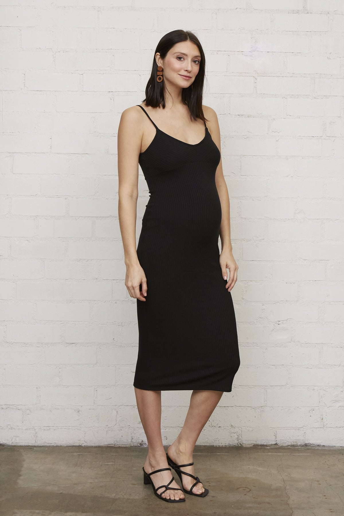Rib Rochelle Dress - Black, Maternity