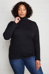 Rib Turtleneck - Black, Plus Size