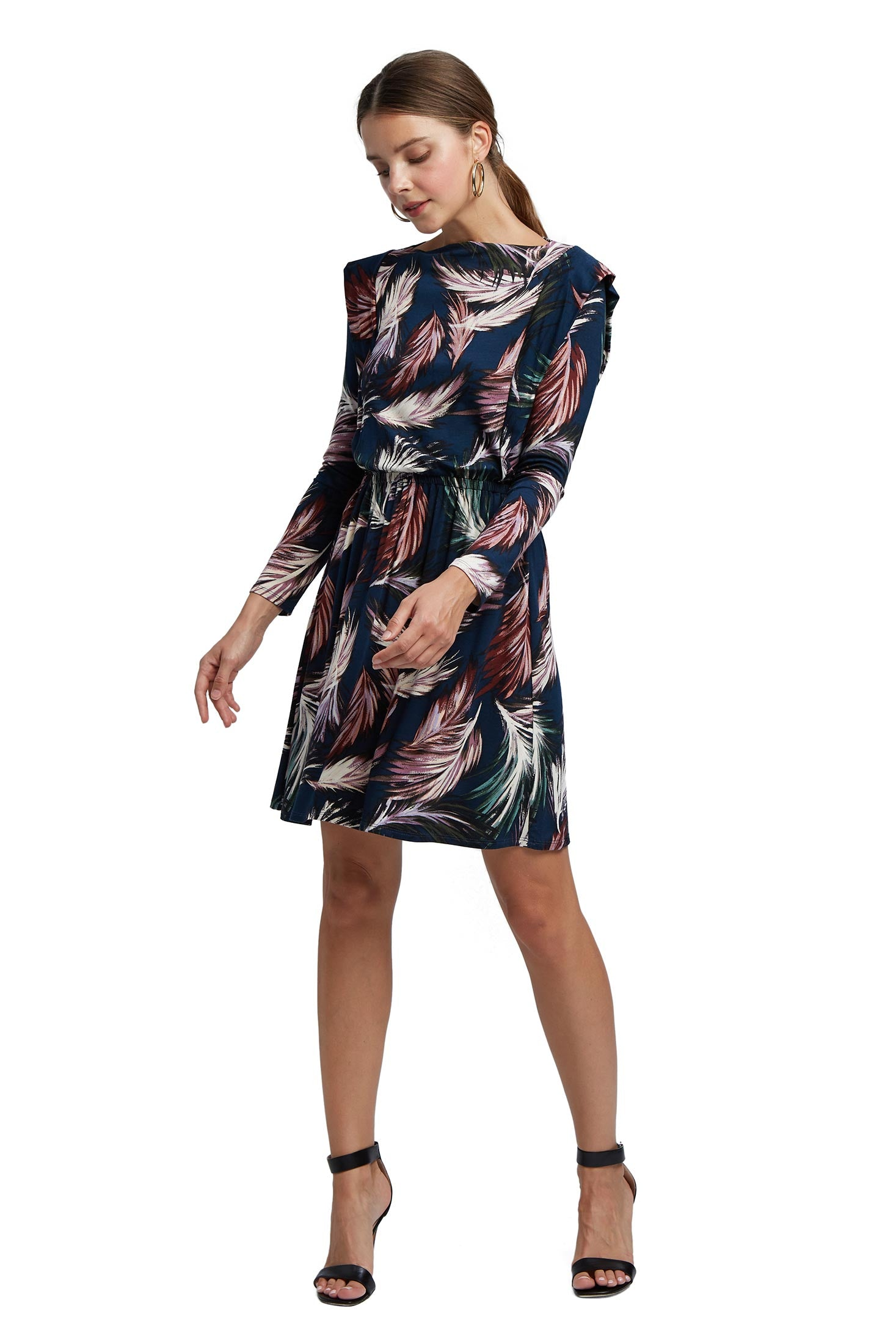 Roanne Dress - Feather Print