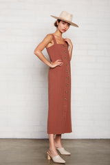 Linen Canvas Rome Dress - Masala
