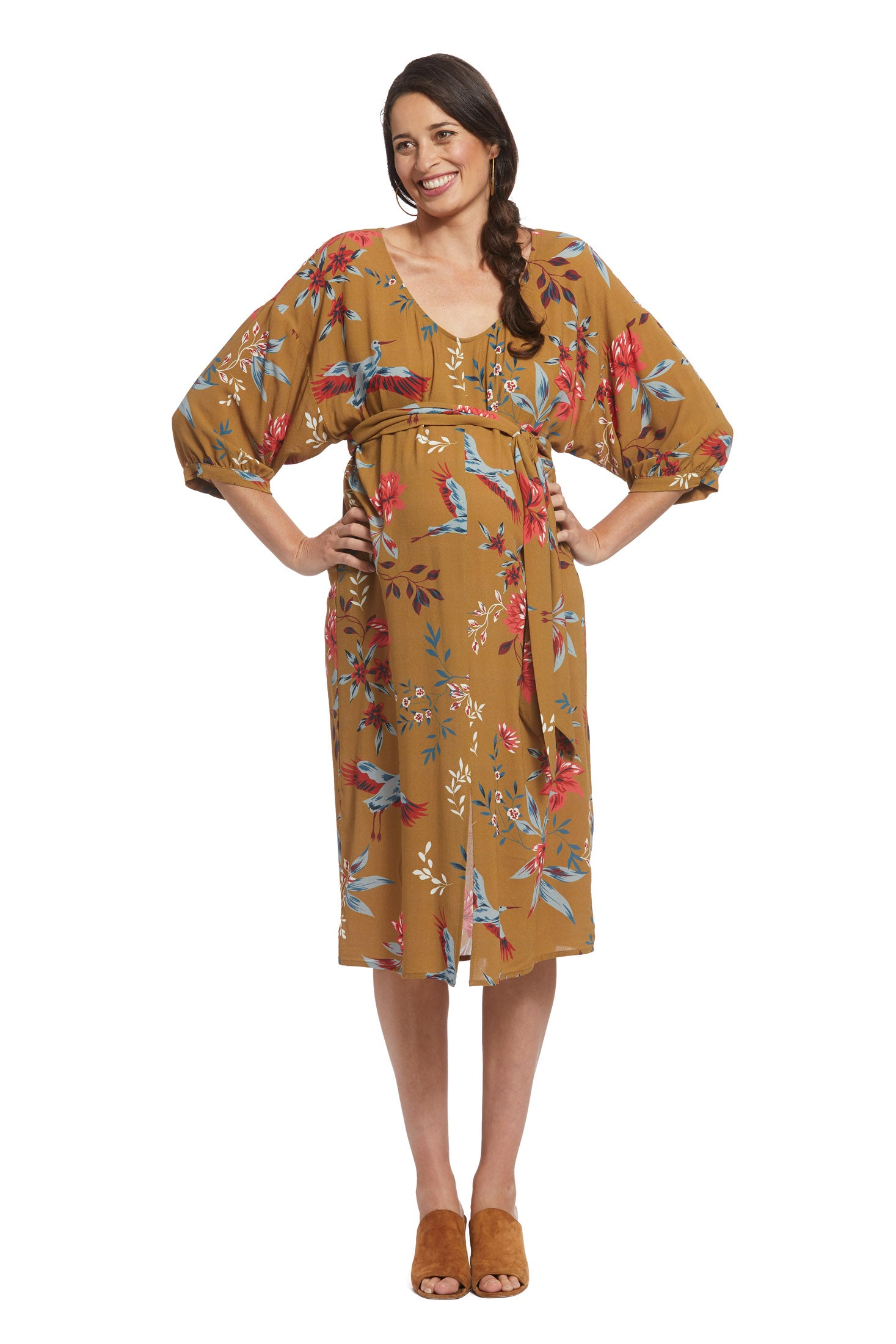 Crepe Rayon Reversible Ryan Dress - Avian, Maternity