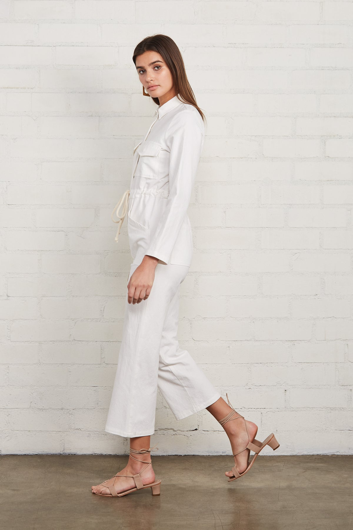 Winter Linen Canvas Dylan Jumpsuit - Salt