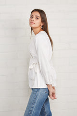 Winter Linen Canvas Otis Wrap Top - Salt