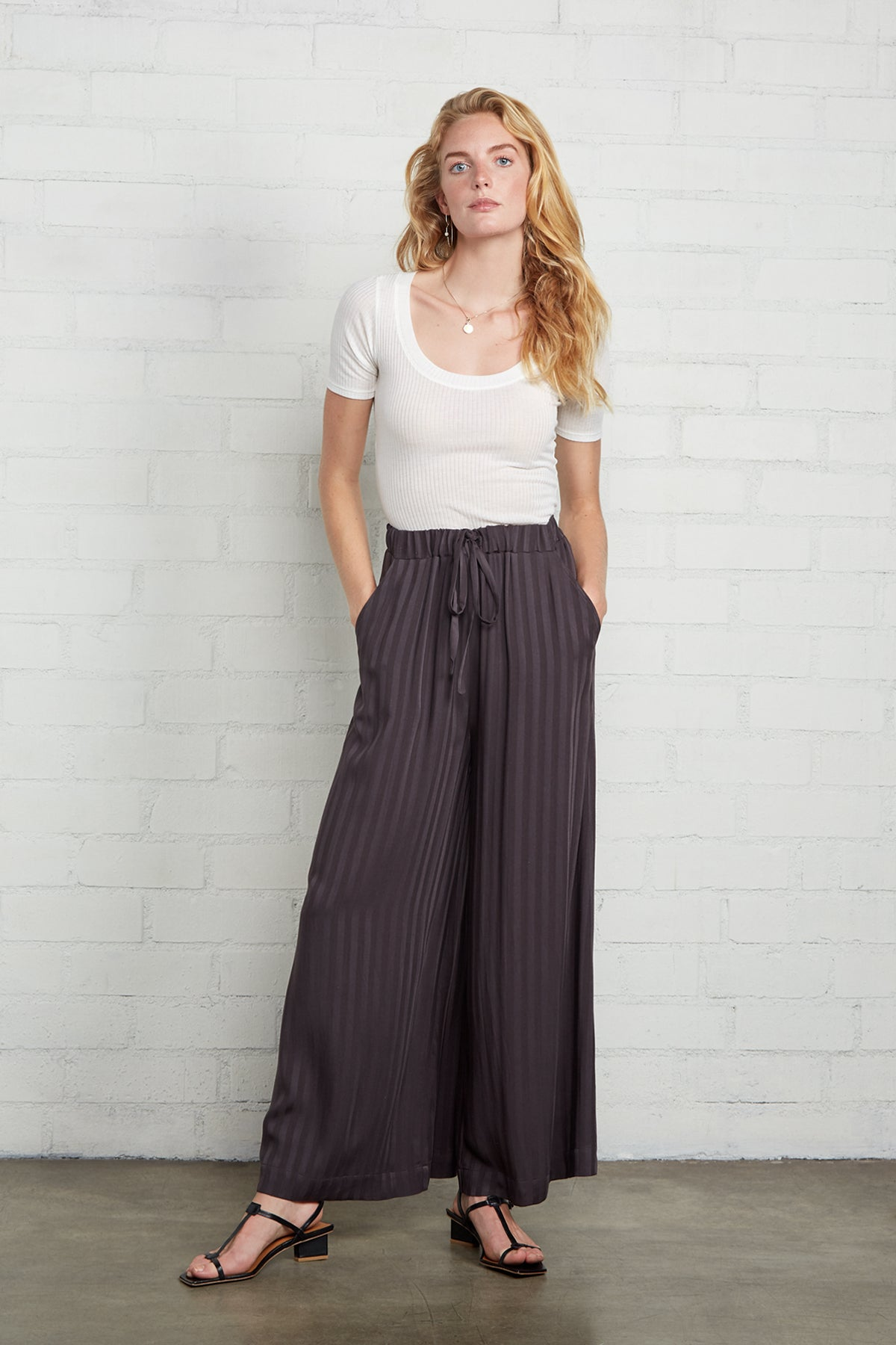 Shadow Stripe Lyric Pant - Faded Black