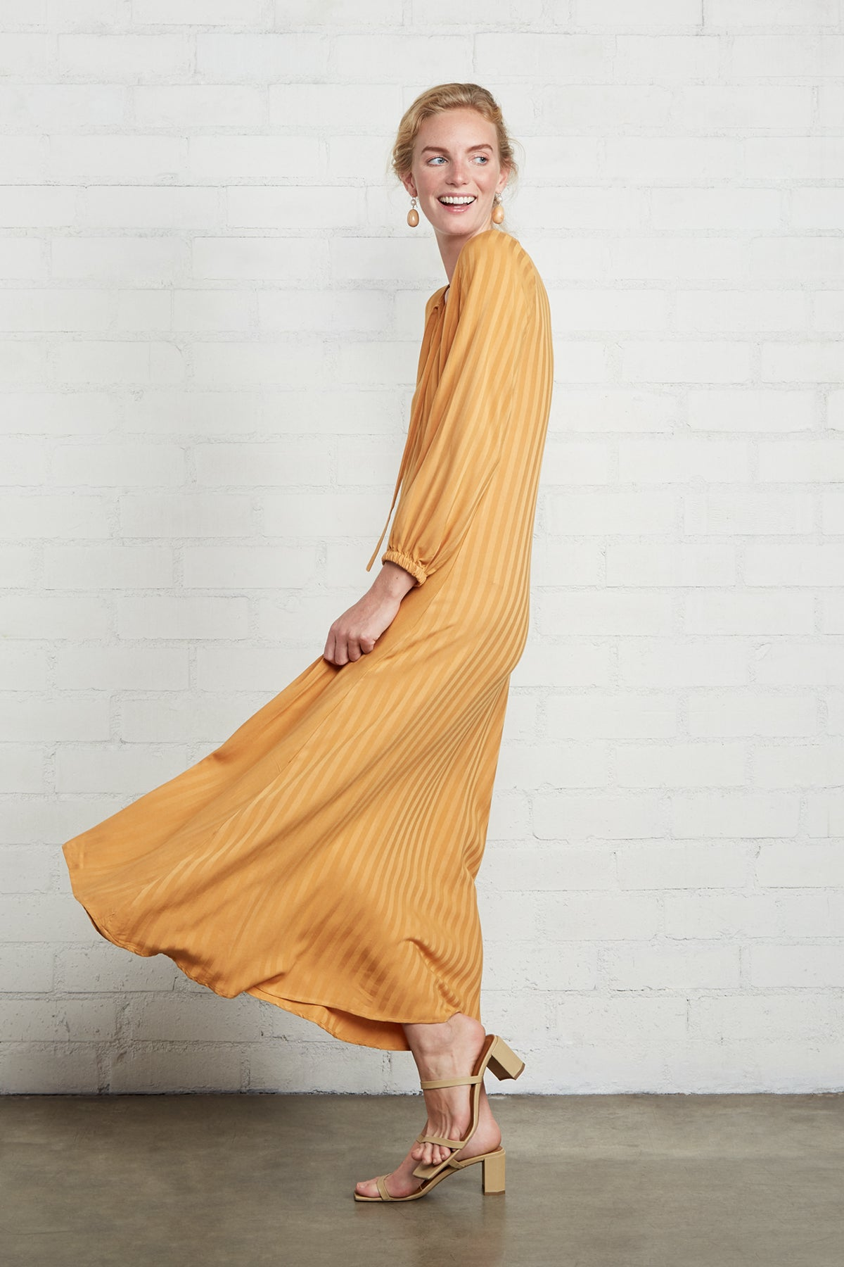 Shadow Stripe Manon Dress - Marigold