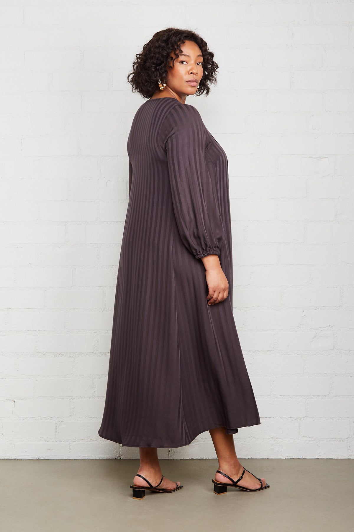 Shadow Stripe Manon Dress - Faded Black, Plus Size