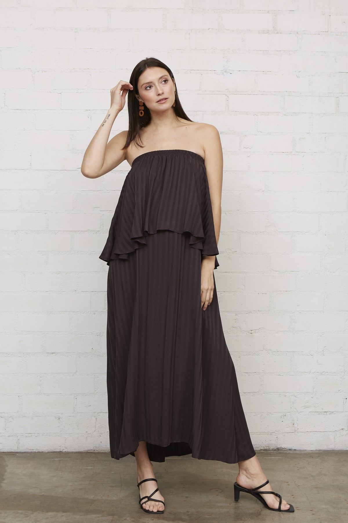 Shadow Stripe Polly Dress - Faded Black, Maternity