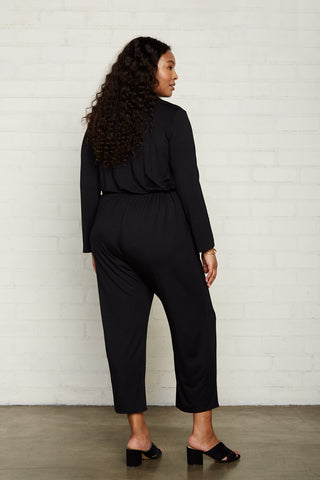 Snap Jumpsuit - Black, Plus Size
