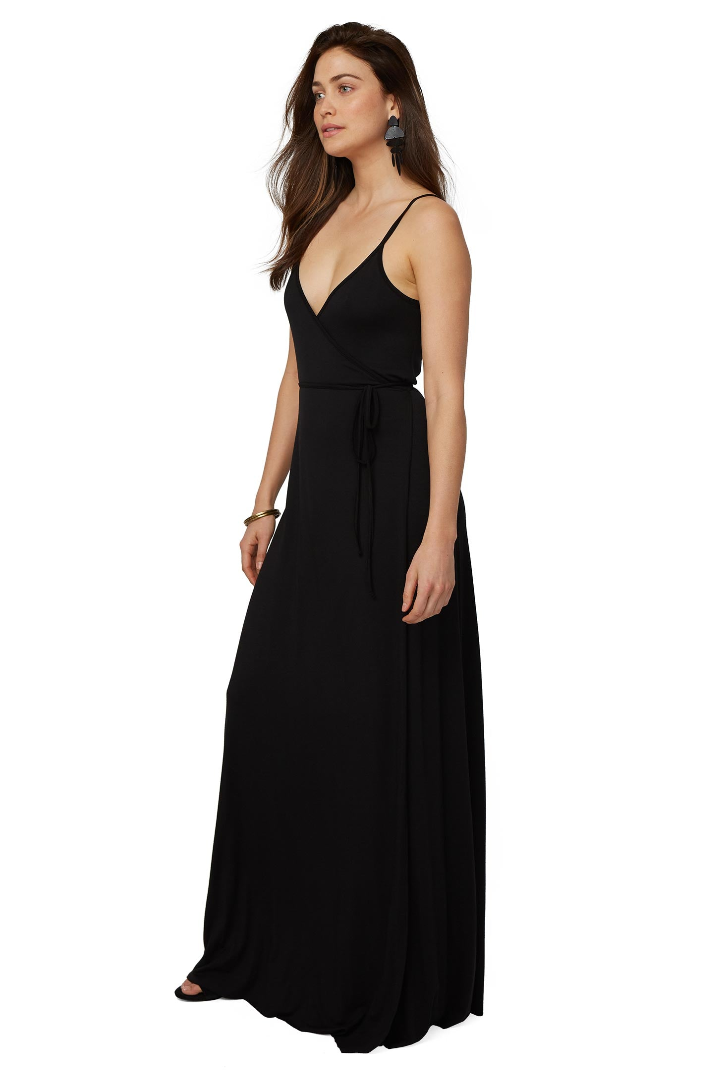 SPAGHETTI WRAP DRESS - BLACK