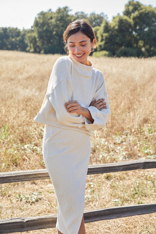 Sweater Rib Lolo Skirt - Oatmeal
