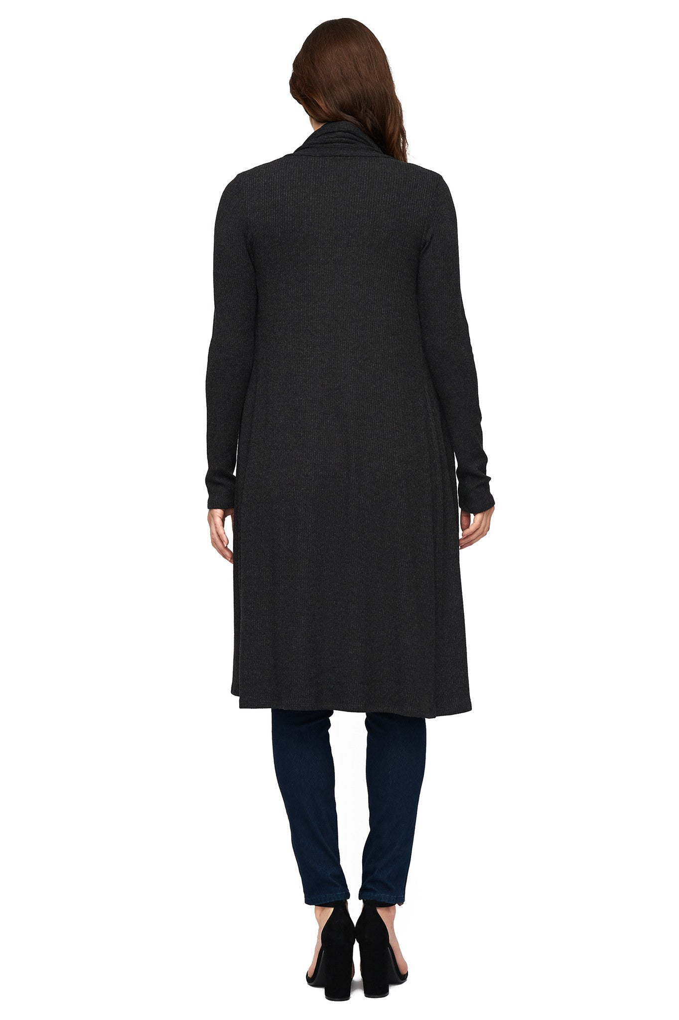 Sweater Rib Sal Coat - Charcoal