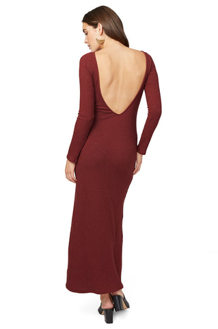 Sweater Rib V-Back Dress - Wine