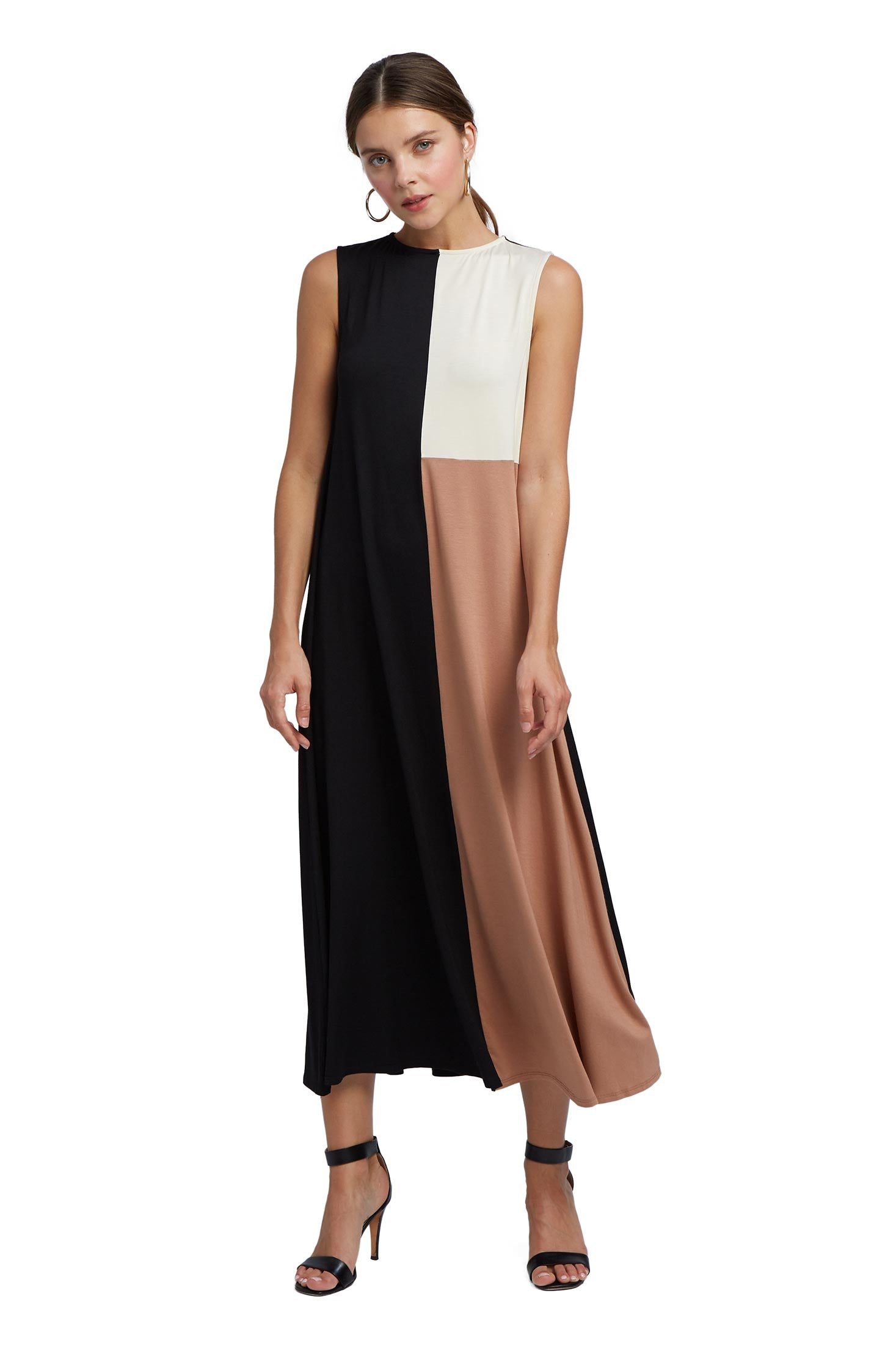 Tricolor Dress - Black / Dulce / Cream