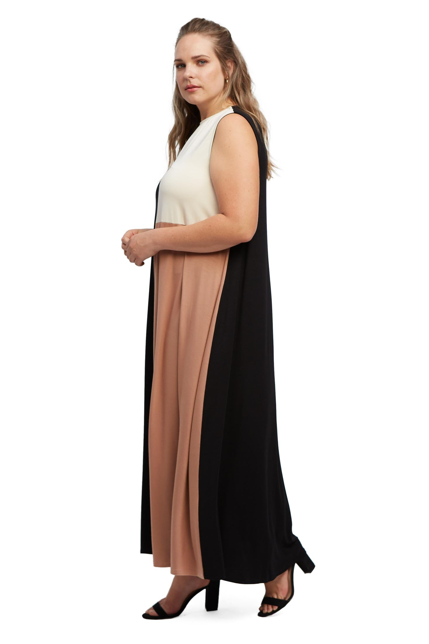 Tricolor Dress - Black / Dulce / Cream, Plus Size