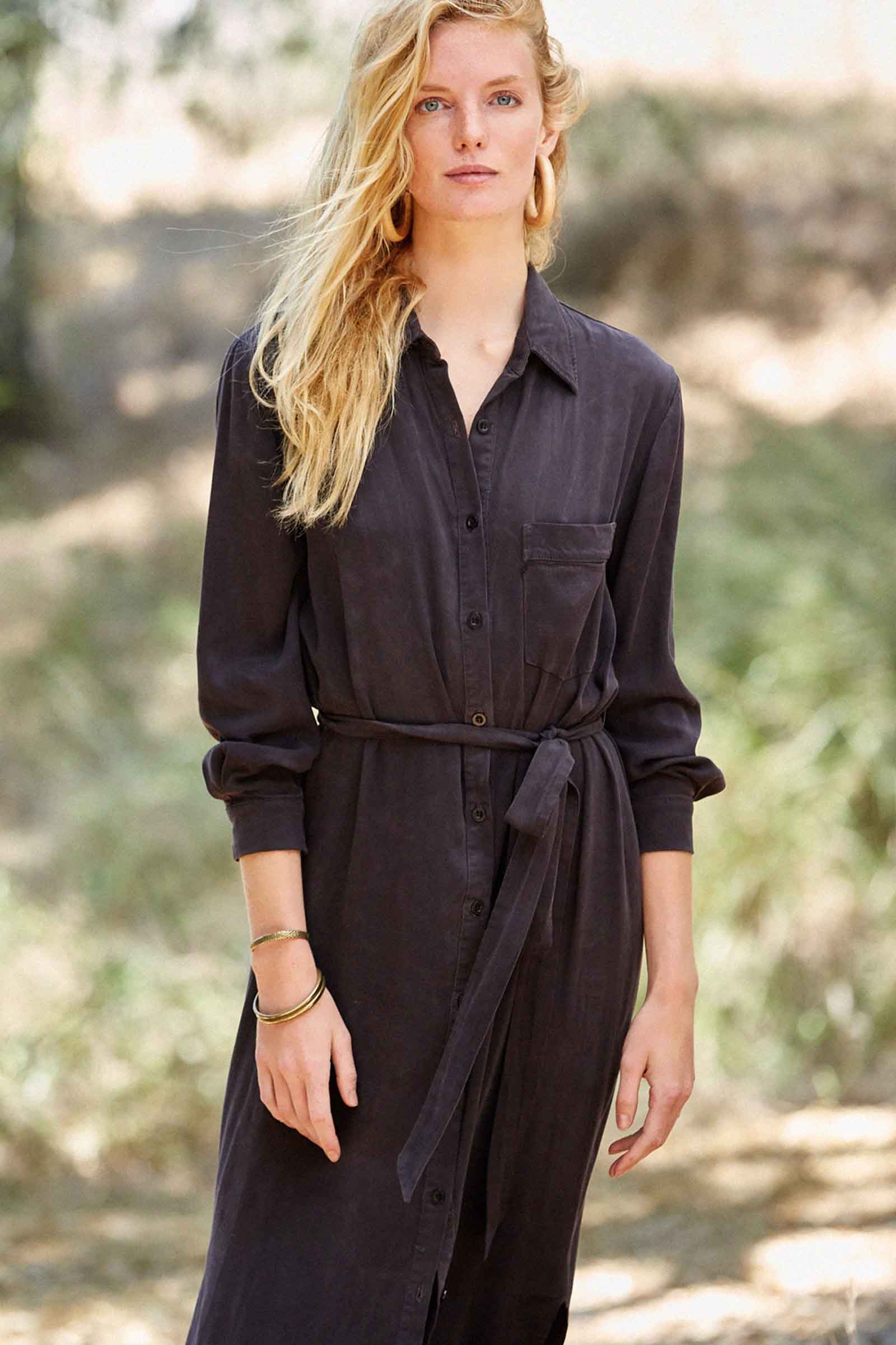 Twill Shirtdress - Asphalt