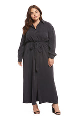 Twill Shirtdress - Asphalt, Plus Size