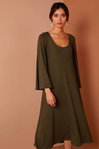 Luxe Rib Thora Dress - Cypress
