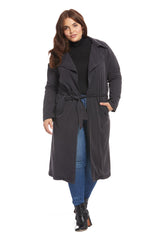 Twill Trench Coat - Asphalt, Plus Size