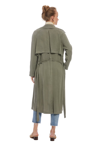 Twill Trench Coat - Olive