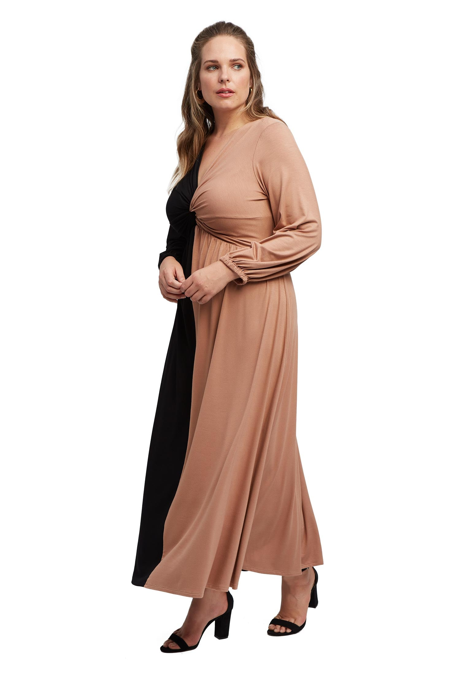 Two-Tone Twist Dress - Black Dulce Colorblock, Plus Size