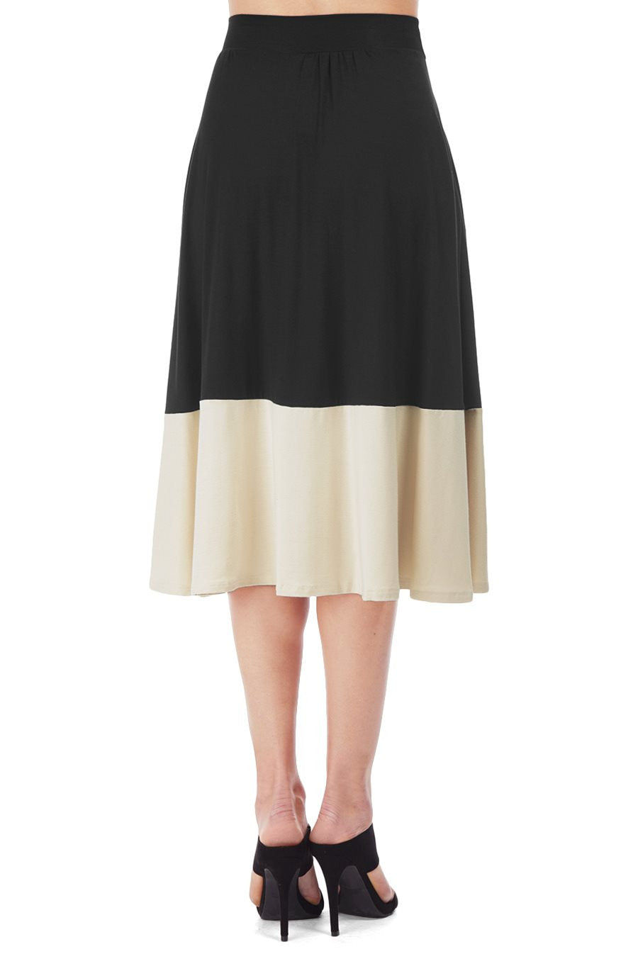 URSULA TWO-TONE SKIRT - BLACK/CREAM
