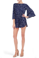 TAJA PLAYSUIT PRINT - PEBBLE