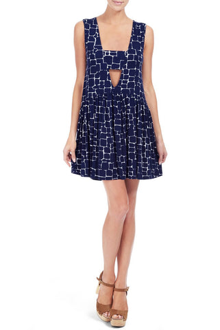 SLEEVELESS NIVEN DRESS PRINT - PEBBLE