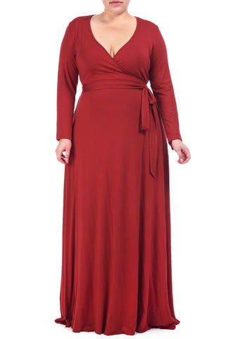 LONG WRAP DRESS WL - ROSSO