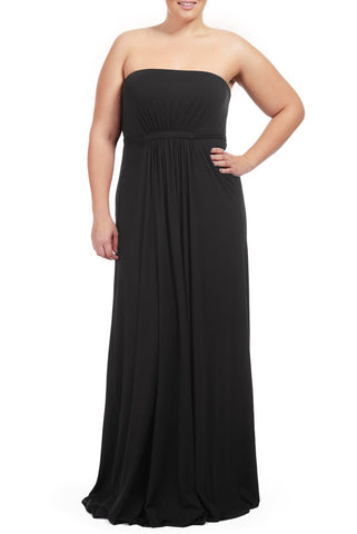STRAPLESS CAFTAN DRESS WL - BLACK
