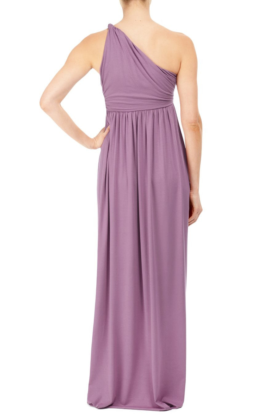 LONG TWIST SHOULDER DRESS - FOXGLOVE