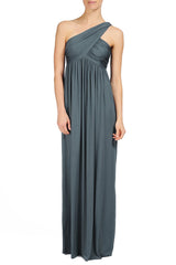 LONG TWIST SHOULDER DRESS - SMOKE