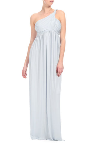 LONG TWIST SHOULDER DRESS - ICE