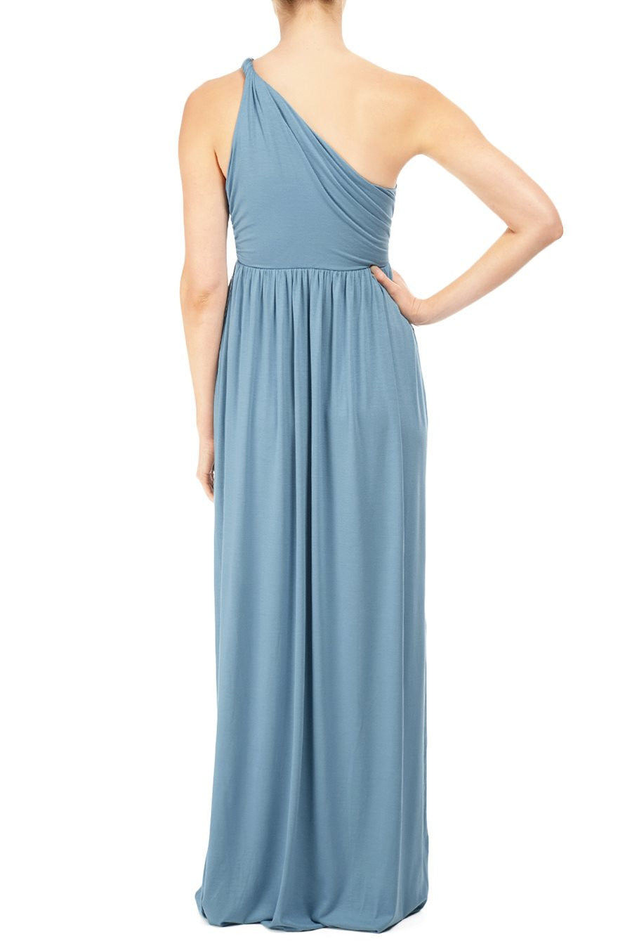 LONG TWIST SHOULDER DRESS - TOURMALINE