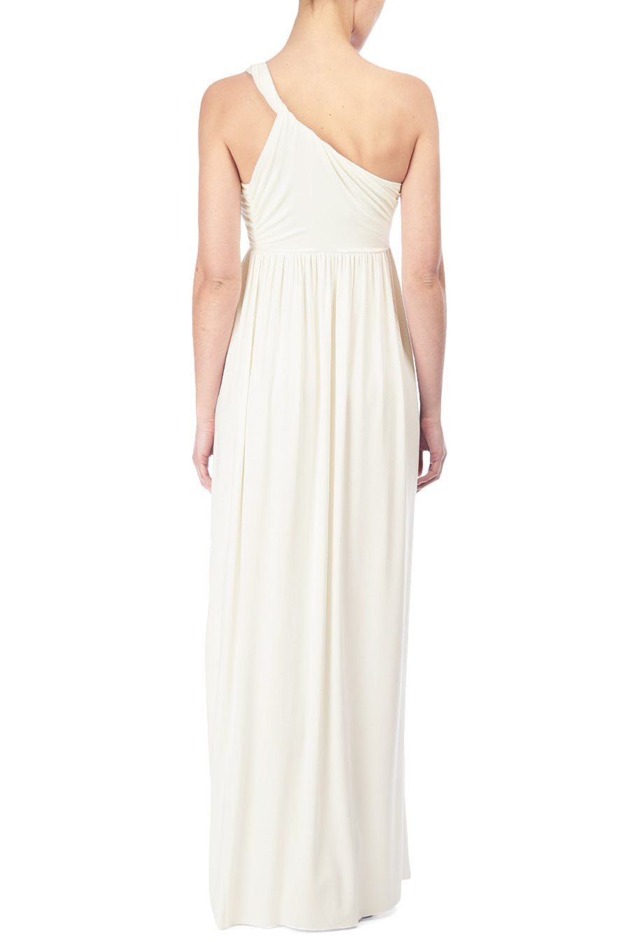 LONG TWIST SHOULDER DRESS - WHITE