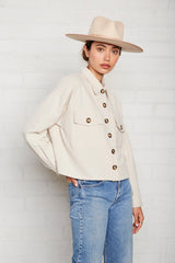 Linen Canvas Francis Shirt Jacket - Ecru