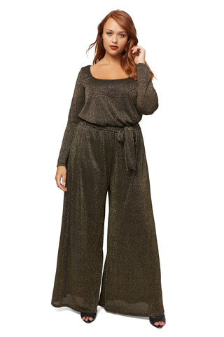 Wide Leg Sweater Jumpsuit WL - Black/ Gold