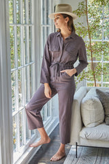 Winter Linen Canvas Dylan Jumpsuit - Umber