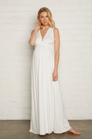 Long Sleeveless Caftan - White, Maternity