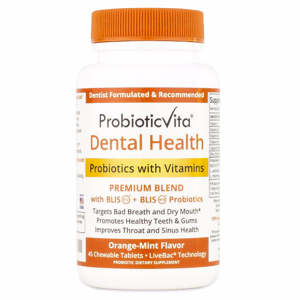 Dental Health Probiotics with BLIS (Orange-Mint, 45 Tablets)