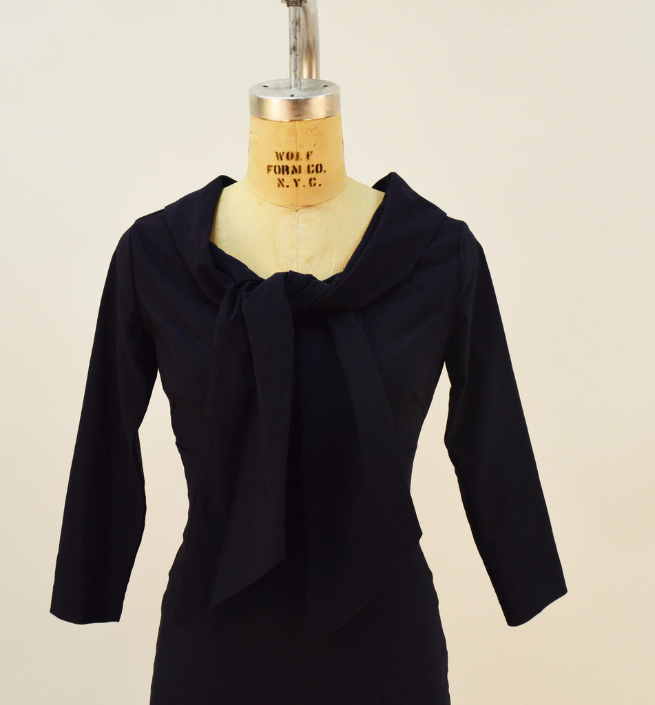 Angie Navy Stretch Bengaline 3/4 Sleeve Tie Front Dress