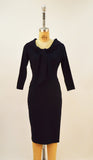 Angie Navy Stretch Bengaline 3/4 Sleeve Tie Front Dress - Plus Fashion Up to Size 32