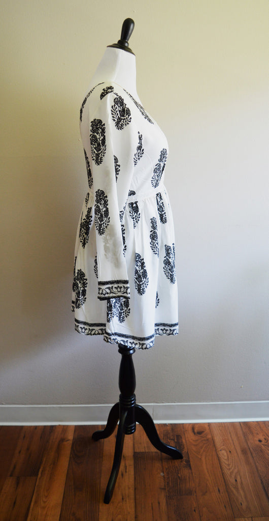 Black & White Music Festival Dress Top with Gold Trim