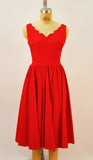 Brenda Red Sateen Scalloped Neckline Dress - Plus Fashion Up to Size 32