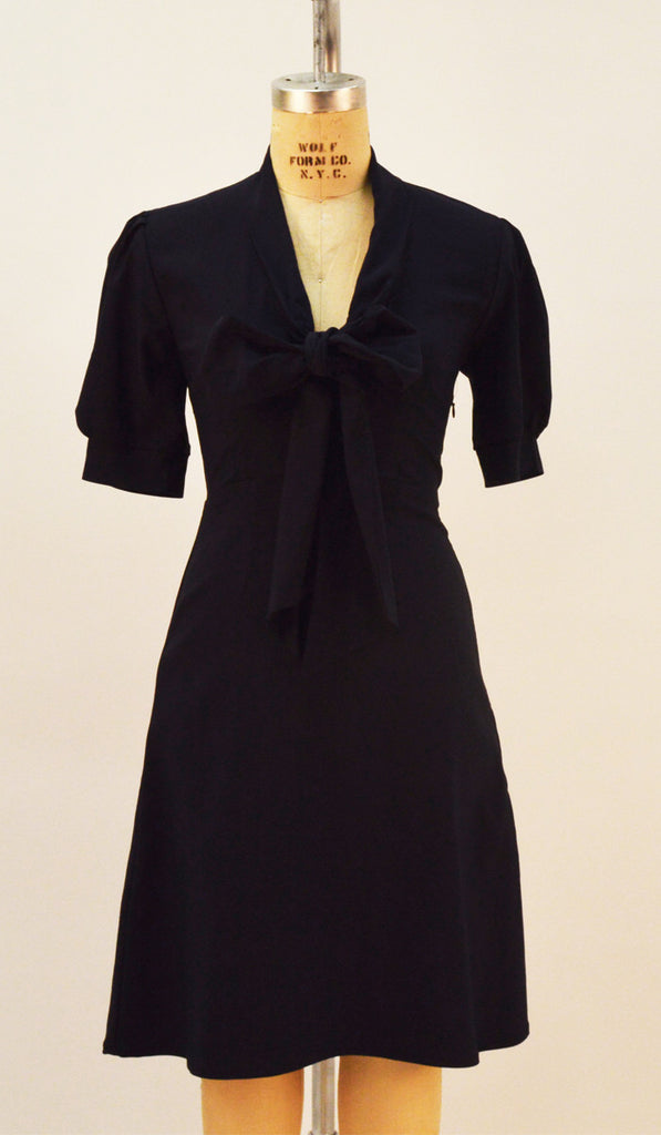 Dash Navy Stretch Bengaline Bow Dress - Plus Fashion Up to Size 32