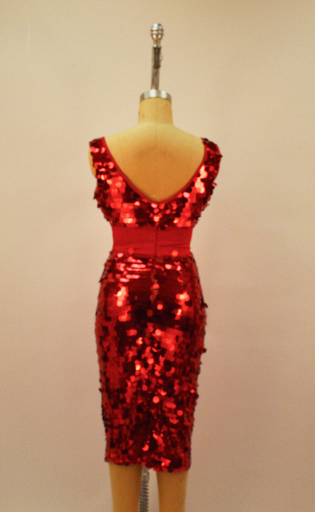 Detroit Red Sequin Wiggle Dress - Plus Fashion Up to Size 32
